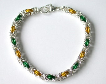 Green Bay Packers Green and Gold  Byzantine Chainmaille Weave Bracelet in Argentium Silver and brightly colored enamel
