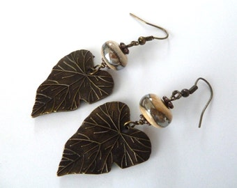 silver lampwork and bronze leaf earrings, UK handmade jewellery
