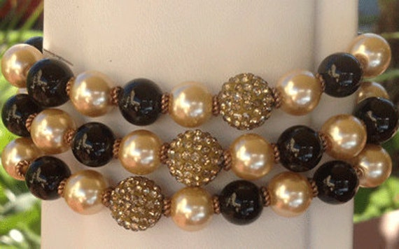 The Entertainer Bracelet - black and gold faux pearls
