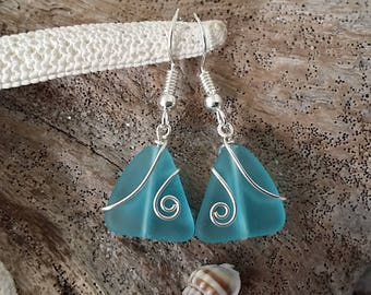 Made in Hawaii, Wire wrapped blue sea glass earrings, Sterling silver hook, gift box. Beach glass  jewelry gift.