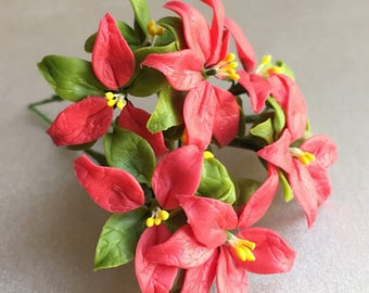 Miniature Christmas Tree,Miniature Flower,Miniature Christmas,Dollhouse Flower,Christmas Flower,Christmas leaf