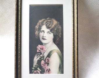 Art Nouveau Woman Hand Tinted Framed Print 1920s Love's Gift of Roses Lady O Co. Vintage Love Valentine's Day Mother's Day Gift