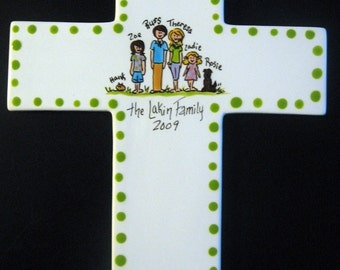 Personalized Family Cross - Hand Painted Family Ceramic Cross Plaque