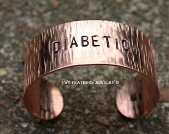 Copper Cuff Bracelet - Medic Alert Bracelet - Textured Copper Bracelet - Hand Stamped Cuff - Medical Alert - Personalized Jewelry - SRAJD