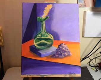 "Vase and Grapes - 16""x20"" - Original paintings - oil paintings"