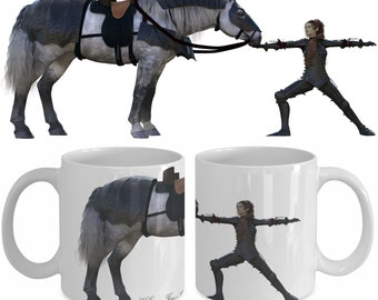Yoga Fantasy Warrior 2 Pose with Horse in Armor Mug