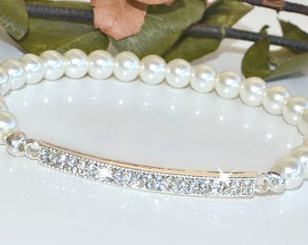 Crystal Bar and Pearl Stretch Bracelet