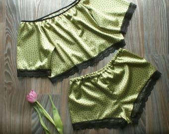 Satin silk pajama set / Satin Lingerie / Satin French knickers / satin off shoulder top - pajamas set - satin pajama - satin silk knickers