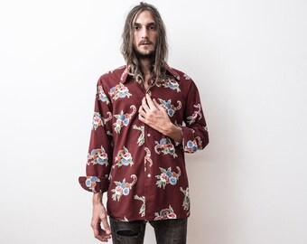 Beautiful 1960s Shirt Floral Pattern Bordeaux Long Sleeved Shirt Hippie Boho Maroon Wine Red Summer Shirt Retro Disco Funk Shirt