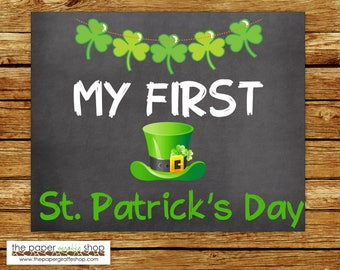 My First St. Patrick's Day Sign | Baby's First St. Patrick's Day Chalkboard Sign | My First Holiday Signs | Baby's 1st  Holiday