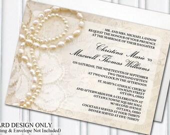 Glamorous dress tuxedo wedding invitation glam themed pearls lace wedding invitation glam themed wedding glamorous ivory diy bride stopboris Choice Image