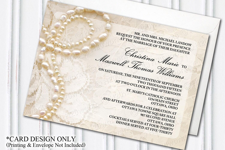 Pearls & Lace Wedding Invitation Glam Themed Wedding
