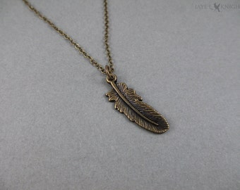 Feather Charm Necklace - Bronze