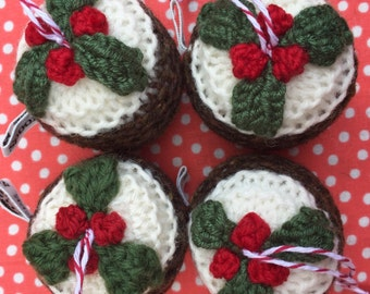 Figgy Pudding Hand Knitted Christmas Decoration
