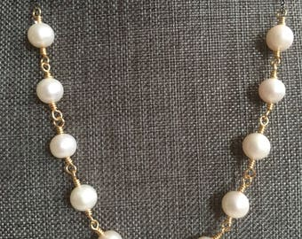 Fresh Water Pearl and Oxidized Sterling Silver Chain Necklace