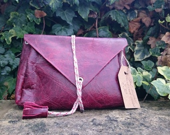 Handmade OxBlood/Burgandy Leather Tassel Boho/Festival/Vintage Style Clutch Bag Handmade From 100% Recycled Materials