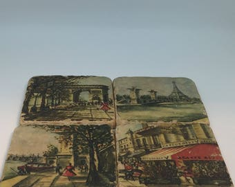 Set of 4 Tumbled Botticino Marble Coaster with Vintage Colorful Paris Street Scene by Studio Vertu