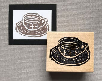 Hand Carved Coffee Cup Rubber Stamp