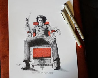 Original Pen Drawing of Sweeney Todd: The Demon Barber of Fleet Street