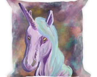 Pastel Unicorn Square Throw Pillow