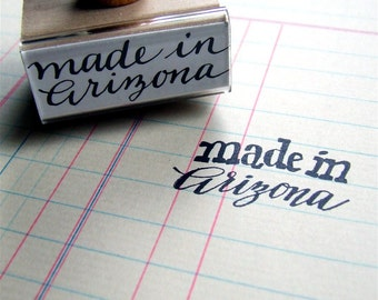 Made in Arizona Rubber Stamp, Hand-Lettered AZ State Stamp, Modern Calligraphy Stamp, Southwest Wedding