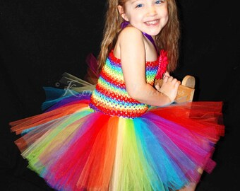 Rainbow Tutu Dress and Daisy Hair Clip Set - Size NB to 24 Months - Can Be Worn Different Ways