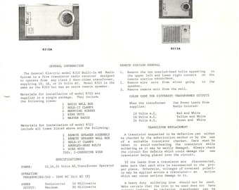 General Electric Vintage Radio Service Manual Exc. Condition 1962 Download PDF Models R310 R310A R315A Built-In Radio Mid Century Modern