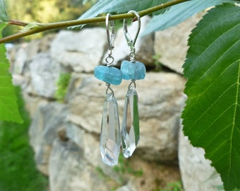 Rough Aqua Apatite and Swarovski Crystalactite Drop Earrings on Sterling Silver Leverback Ear Wires