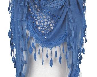 Triangle special occasion scarf shawl wrap diamantes & decorative trim - blue - CFOC0846