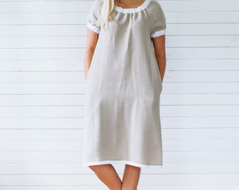 Linen dress, Gray linen tunic, Short sleeve linen summer dress with pockets, Flax summer dress, Gray linen summer dress, Linen dress gray