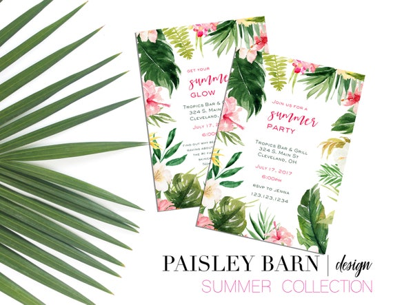 Tropical Foliage Invite | Printable Digital File | Skincare, Printed, BBL, Happy Hour, girls night, invitation, philodendron, palm, summer
