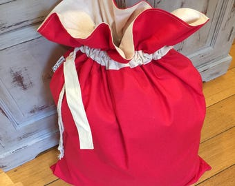 Christmas In July, Christmas Santa Sack, Red and Calico Genuine Quality, Hand Made, Large 75cm x 55cm, Fully Lined, Personalised