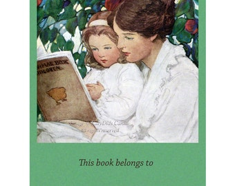 Mother and Daughter Read Together Bookplates - Pack of Ten - Jessie Willcox Smith Repro