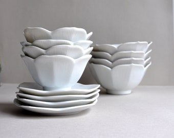 Nesting Lotus Bowls with saucers - Set of 4 - Choice