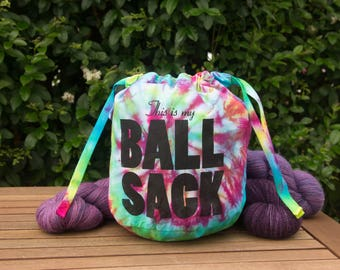 Ball Sack Knitting Bag- Rainbow Tie-Dye (Large)