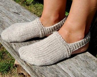 Knit Indoor Clogs, Knitted Socks for Sleep, Slipper Socks, Hand Knit Socks for Home, Toe Warmer, Foot Warmers, Bed Socks,