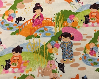 Kimono Tea (in orange)- Infant or Toddler Bib - Terry Cloth Backing - Reversible with ADJUSTABLE Snaps