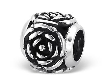 Sterling Silver Rose Bead