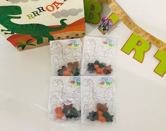 DINOSAUR crayons - Birthday Party Favors DINO - Dinosaur Kids- Set of 4 Crayons, Coloring Page and Personalized Name Tag
