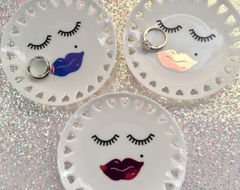 Eyelashes And Lips Ring Dish, Ring Dish Holder, Gifts Under Ten, Catch All, Trinket Dish, Jewelry Dish Holder, For Her Gift, Teen Gift