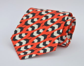 Boy's Necktie in Coral Orange and Black Feathers