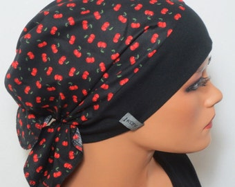 Head scarf Hat/CHEMO Hat Black m. Cherry fashionable practical convenient b. chemotherapy alopecia hair loss