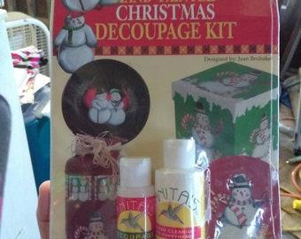 Vintage 1996 Anita's Christmas Decoupage Kit Hand Painted Snowmen Sealed