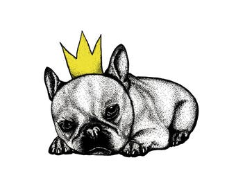 Modern Art_Home decoration_Inspiring Nursery/Kids Room Illustration_Puppy with Crown_Unique and Original Print
