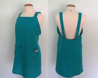 Linen Japanese Apron, Garden Apron, Artist Apron, Pinafore, Pull on Apron, Teal Turquoise Blue Apron, Work Apron, Short or Long Length