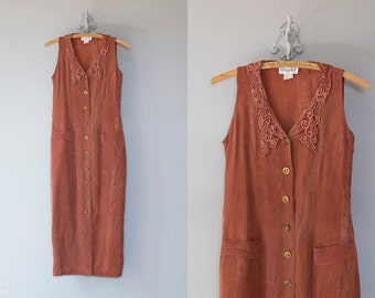 Sara dress | Vintage 1990s rust silky maxi with lace collar