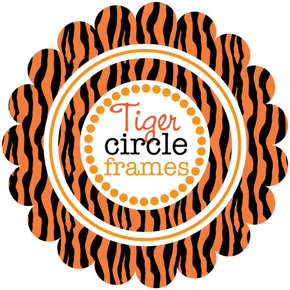 Tiger tiger Circle Frames with Tiger Stripes Digital Clip