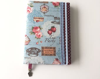 Vintage style fabric covered A5 Notebook;  recipe notepad; Mother's  gift; Women's cookbook; personalized present;mother's gift;
