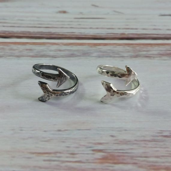 Adjustable Hammered Sterling Silver Arrow Ring- Oxidized or Polished