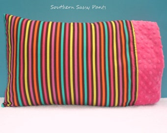 Toddler Pillow Case - Toddler Girl Pillowcase ONLY - Candy Stripe and Minky Pillow Case - ON SALE, In Stock and Ready To Ship